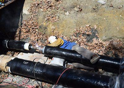 Welding underground pipe