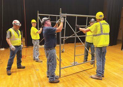 Scaffolding base set up on stage.